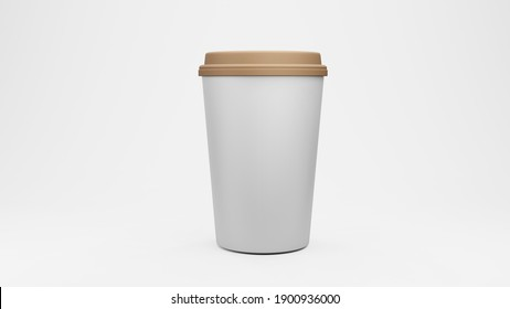 Cup for coffee. Isolated on white background. 3d rendering.