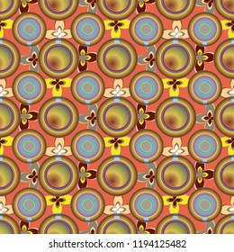 Cup of coffee or tea with dots on background seamless pattern.
