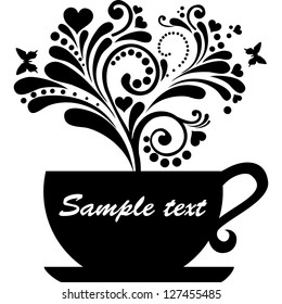 Cup with floral design elements isolated on White background.  illustration