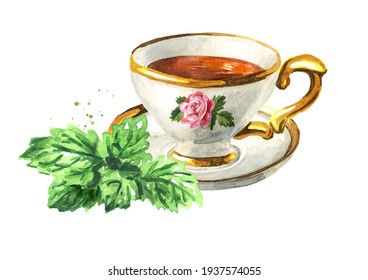 Cup of herbal tea with bunch of fresh Melissa or lemon balm leaves. Hand drawn watercolor illustration isolated on white background