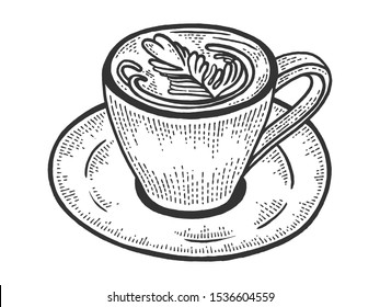 Cup of latte with art heart sketch engraving raster illustration. Coffee artwork. Scratch board style imitation. Black and white hand drawn image.