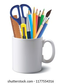 Cup with office tools isolated on white. Realistic 3d illustration