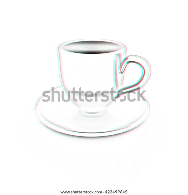 Cup On Saucer On White Background Stock Illustration 423499645