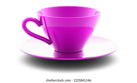 The cup on the white surface. 3D Illustration.