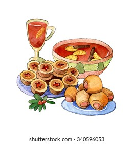 A cup of wassail served with mince pies and sausage rolls watercolor, crayon illustration