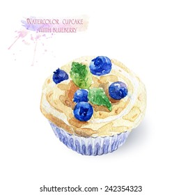 Cupcake with blueberries.  Cake with a delicious cream. Watercolor illustration.