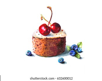 Cupcake with cherry, hand drawing.