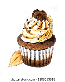 Cupcake hand sketch on white
