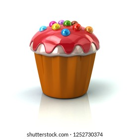 Cupcake or muffin with red cream 3d illustration on white background
