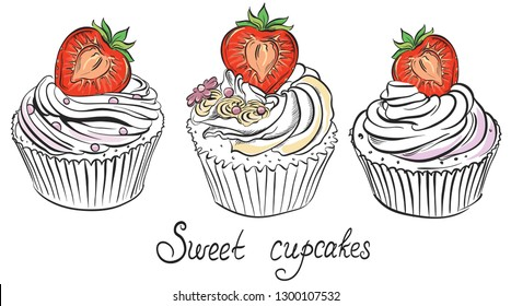 Cupcake with ripe strawberry. Hand drawn illustration