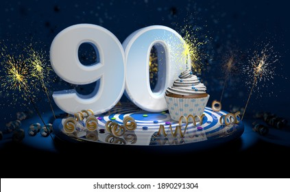 Cupcake with sparkling candle for 90th birthday or anniversary with big number in white with yellow streamers on blue table with dark background full of sparks. 3d illustration