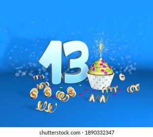 Cupcake with sparkling candle for birthday or anniversary 13 with the big number in white with yellow streamers on the blue background. 3d illustration