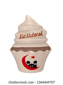 Cupcake with the text Eid Mubarak, Crescent and Mosque. 3d rendering