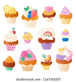 Cupcakes super collection illustrations