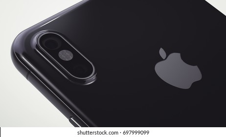 CUPERTINO, USA - 17 August 2017: Apple iPhone X 3D Illustration with Apple Inc logo Illustrative Editorial Image