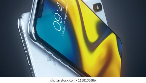 CUPERTINO, USA - 17 August 2018: New Apple iPhone X 3D Illustration with Apple Inc logo ILLUSTRATIVE EDITORIAL 