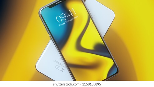 CUPERTINO, USA - 17 August 2018: New Apple iPhone X 3D Illustration with Apple Inc logo ILLUSTRATIVE EDITORIAL ​