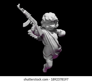 cupid angel for valentines day with  gun 3D render