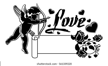 Cupid Bow Hunting Hearts Black White Stock Vector (Royalty