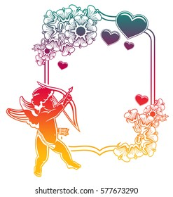 Cupid with bow hunting for hearts. Color gradient frame with Cupid, roses, hearts. Valentine Day background. Raster clip art.