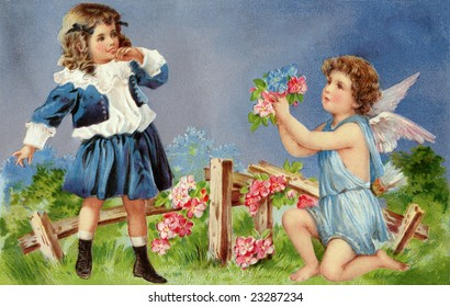 Cupid entreating a young girl with a bouquet of flowers - a circa 1905 Victorian Valentine illustration