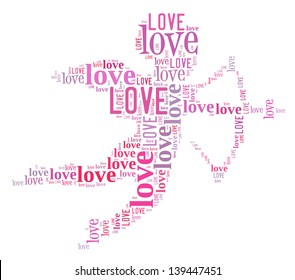 Cupid Love info-text graphics and arrangement concept (word cloud)