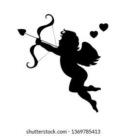 Cupid love silhouette ancient mythology fantasy. JPG illustration.
