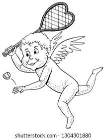 Cupid playing tennis