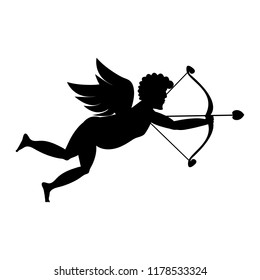 Cupid shooting silhouette on white background