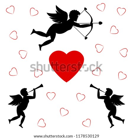 c2a2a88947d Cupids Red Heart On White Background Stock Illustration 1178530129 ...