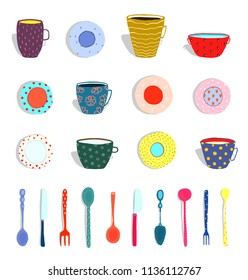 Cups Mugs Plates Dishes Silverware Collection. Set of colorful plates and silverware hand drawn. Raster variant.