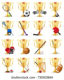 cups winner sports gold stock illustration isolated on white background