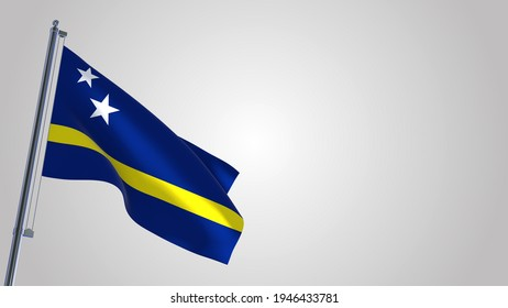 Curacao 3D waving flag illustration on a realistic metal flagpole. Isolated on white background with space on the right side.