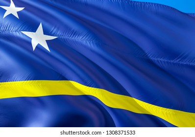 Curacao flag. 3D Waving flag design. The national symbol of Curacao, 3D rendering. The national symbol of Curacao background wallpaper. Caribbean flag 3D ribbon, wallpaper, pattern background
