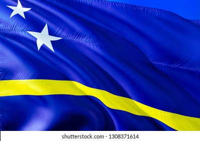 Curacao flag. 3D Waving flag design. The national symbol of Curacao, 3D rendering. National colors and National Caribbean flag of Curacao for a background. Caribbean sign on smooth silk
