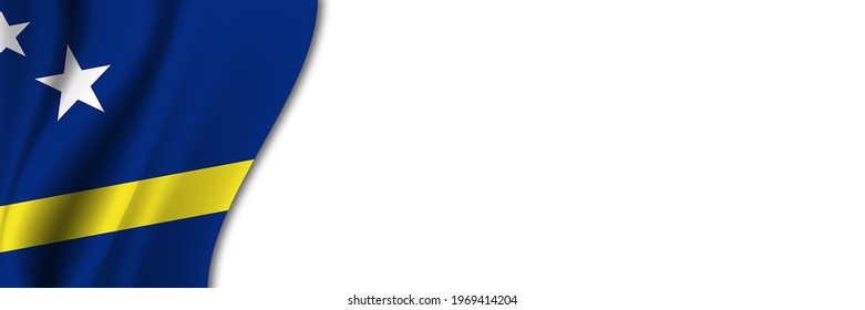 Curacao flag on white background. White background with place for text near the flag of Curacao.