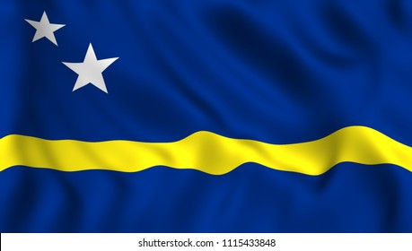 Curacao flag waving in te wind