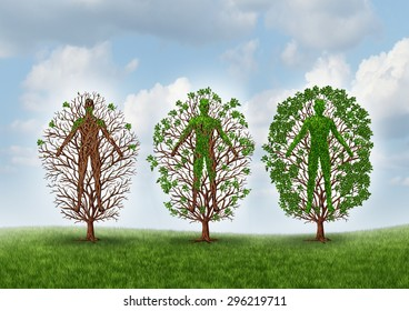 Cure and recovery concept and healing through rehabilitation therapy symbol as an empty tree gradually growing healthy leaves as an icon for medical care and medicine helping the human body recover.