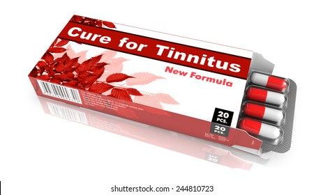 Cure for Tinnitus, Pills Blister getting out from Red Box over White Background.