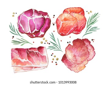Cured meat, rosemary and spice. Watercolor illustration isolated on a white