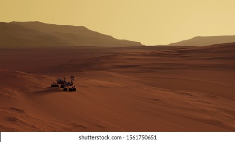 Curiosity rover on the Mars surface with sunset on the background. Rocky mountains and desert of the red planet in sunlight. Scientific Space 3D Illustration. NASA rover