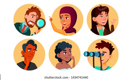 Curious Happy Multicultural Character Set . Collection Of Smiling International Young Curious Man And Woman Portait Avatar With Binoculars And Magnifier. Flat Cartoon Illustration