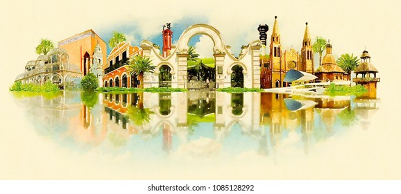 curitiba city colored watercolor painting illustration