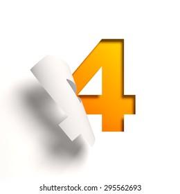 Curl paper font number 4