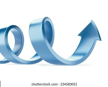 Curled blue arrow