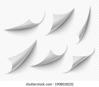 Curled corners. White empty curve pages realistic template