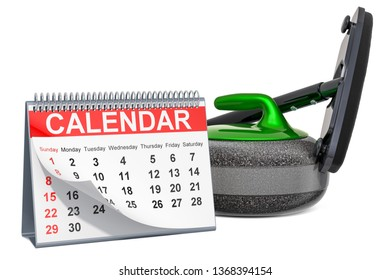 Curling broom and curling stone with calendar, curling events calendar concept. 3D rendering isolated on white background