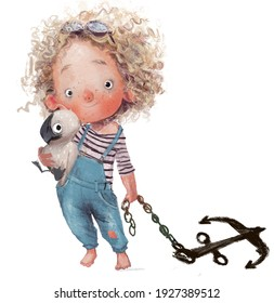 curly cute girl with an albatross character