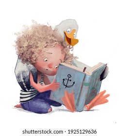 curly cute girl with an albatross read