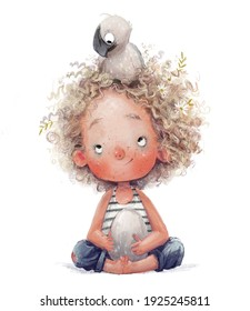 curly cute girl with little albatross character